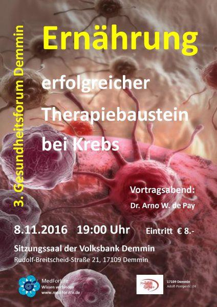 Plakat Ernährung und Krebs Demmin 8-11-2016